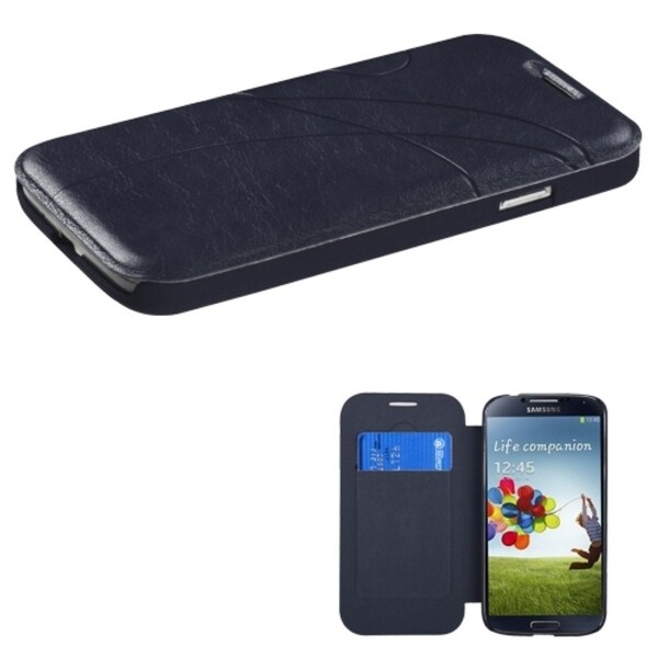 INSTEN Dark Blue Book-Style Phone Case Cover for the Samsung Galaxy S4