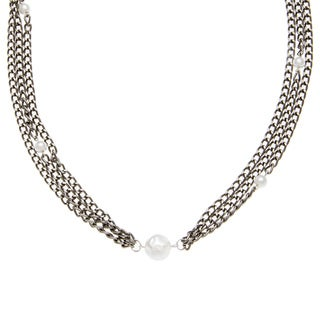 Karla Patin Aluminum Cable Chain with Pearls Necklace
