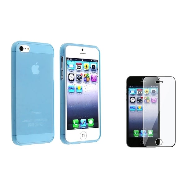 INSTEN Clear Light Blue TPU Phone Case Cover/ Screen Protector for Apple iPhone 5/ 5S