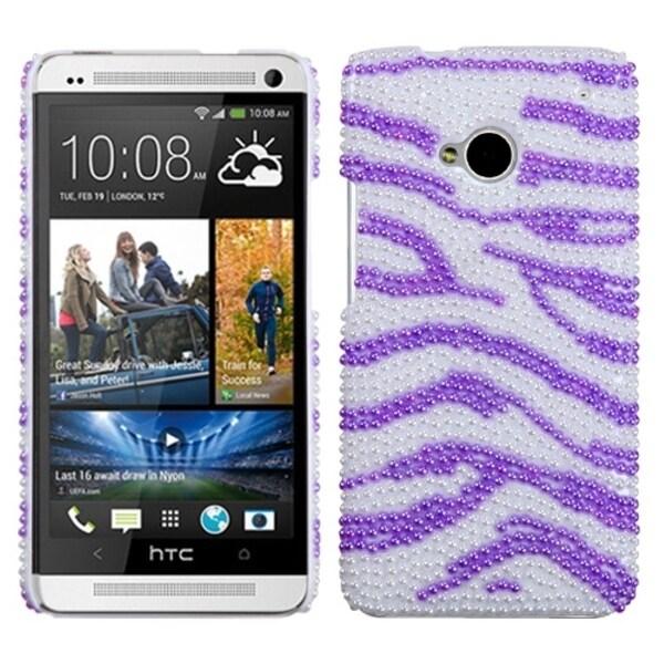 INSTEN Zebra Skin White/ Purple Pearl/ Diamante Phone Case Cover for HTC One/ M7