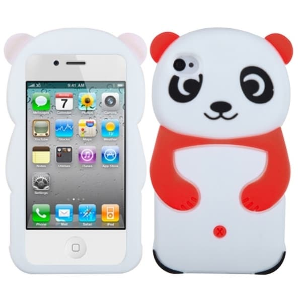 INSTEN Red Panda Soft Silicone Skin Phone Case Cover for Apple iPhone 4/ 4S