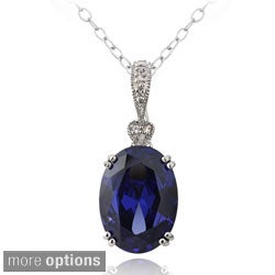 Icz Stonez Sterling Silver Blue Cubic Zirconia Oval Necklace Enhancer