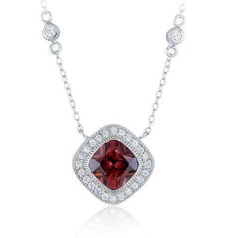 Icz Stonez Sterling Silver Cubic Zirconia Diamond-shaped Station Necklace
