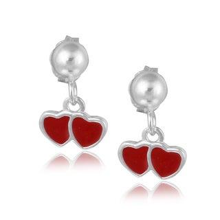 Mondevio Sterling Silver Dangling Enamel Double Heart Children's Earrings