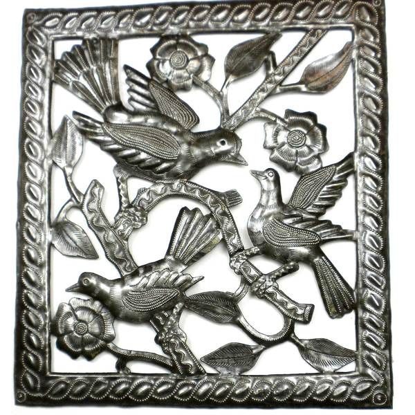 Handmade Three Birds Metal Wall Art (Haiti)