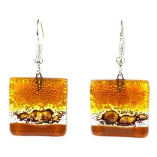 Handcrafted Square Glass Sahara Earring (Chile)
