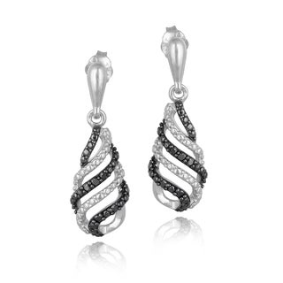 DB Designs Sterling Silver 1/10ct TDW Black Diamond Swirl Dangle Earrings