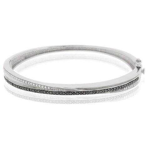 DB Designs Silvertone 1/10ct TDW Black Diamond Bangle Bracelet