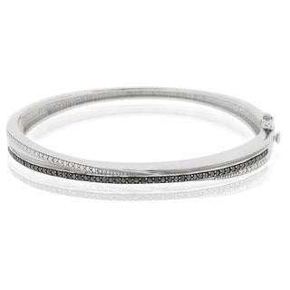 DB Designs Silvertone 1/10ct TDW Black Diamond Bangle Bracelet