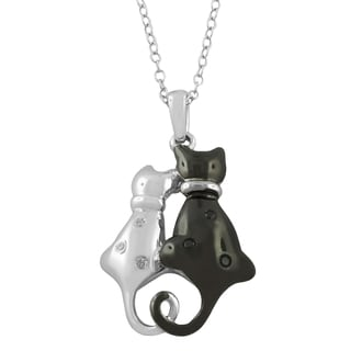 Fremada Rhodium-plated Sterling Silver Diamond Accent Black and White Cat Necklace (G-H, I2-I3)