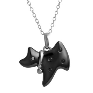 Fremada Black-plated Sterling Silver Black and White Diamond Accent Dog Necklace