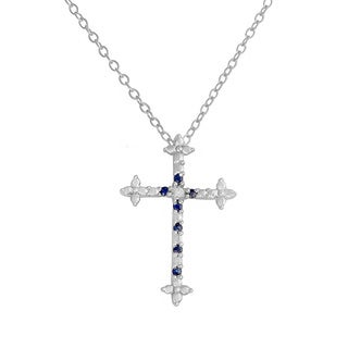 Fremada Rhodium-plated Sterling Silver Sapphire and Diamond Accent Cross Necklace (G-H, I2-I3)