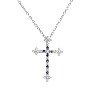 Fremada Rhodium-plated Sterling Silver Sapphire and Diamond Accent Cross Necklace