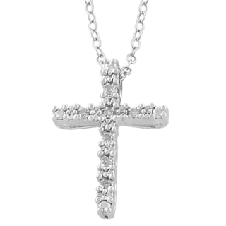 Fremada Rhodium Plated Sterling Silver Diamond Accent Cross Necklace