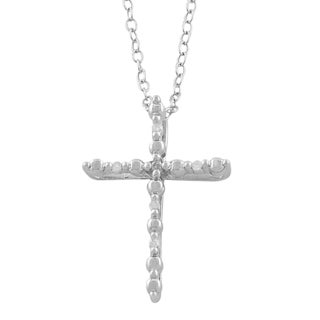 Fremada Rhodium-plated Sterling Silver Diamond Accent Cross Necklace