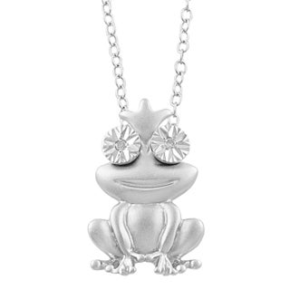 Fremada Rhodium-plated Sterling Silver Diamond Accent Frog Necklace