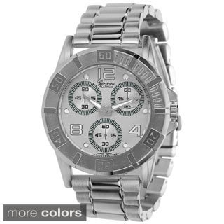 Geneva Platinum Women's Stainless Steel Chronograph-style Link Watch