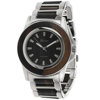 Geneva Platinum Women's Woodgrain Link Watch (Option: Brown)|https://ak1.ostkcdn.com/images/products/8310589/8310589/Geneva-Platinum-Womens-Woodgrain-Link-Watch-P15626277.jpg?impolicy=medium