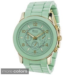 Geneva Platinum Women's Green Chronograph-style Link Watch
