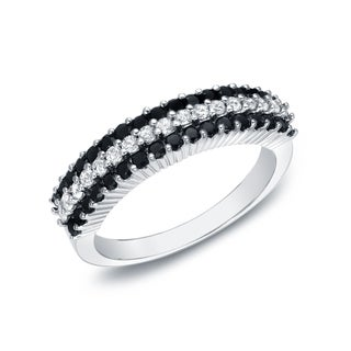 Auriya 14k White Gold 3/4ct TDW 3-row Pave-set Black and White Diamond Ring