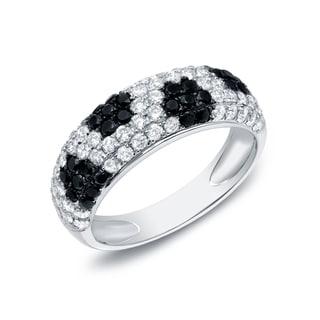 Auriya 14k White Gold 1 1/2ct TDW 5-row Pave-set Black and White Diamond Ring