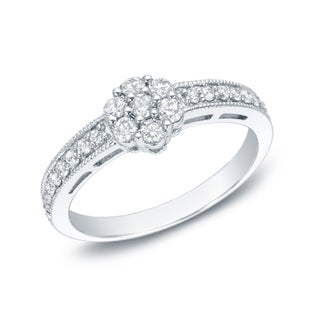 Auriya 14k White Gold 1/2ct TDW Diamond Cluster Promise Ring