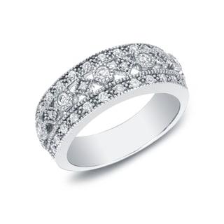Auriya 14k White Gold 1/2ct TDW 3-row Diamond Ring