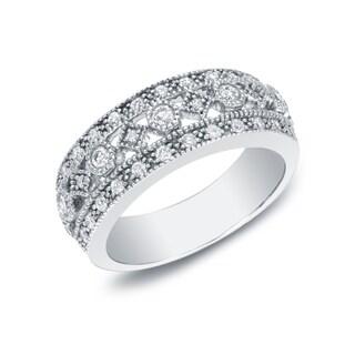 Auriya 14k White Gold 1/2ct TDW Vintage-Inspired 3-row Diamond Wedding Band