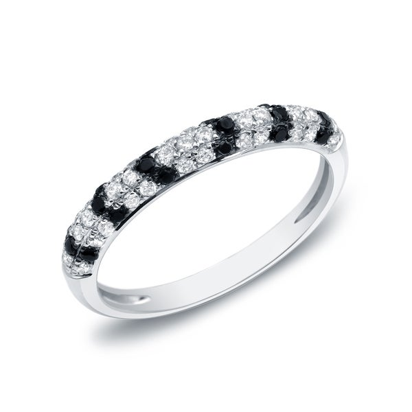 Auriya 14k White Gold 1/4ct TDW Black and White Pave-set Stackable Diamond Ring (G-H, I1-I2)