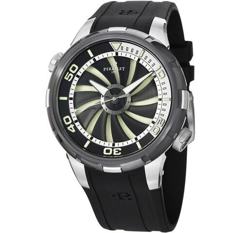 Perrelet Men's 'Turbine Diver' Black/White Dial Black Strap Watch