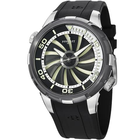 Perrelet Men's A1067/1 'Turbine Diver' Black/White Dial Black Strap Watch