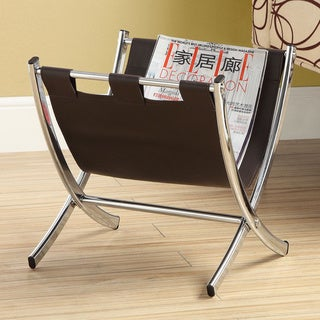 Dark Brown Leather-look Chrome Metal Base Magazine Rack