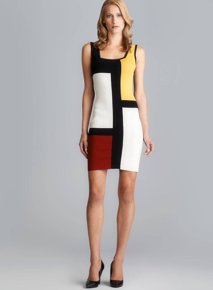 Grace Mondrian Print Square Neckline Knit Dress Free