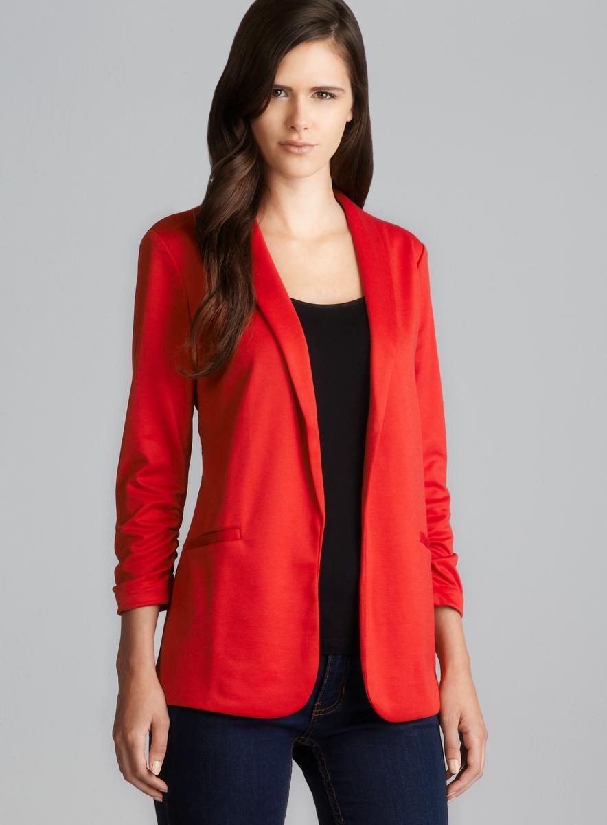 Grace Scarlet Ruched Sleeve Two Pocket Blazer