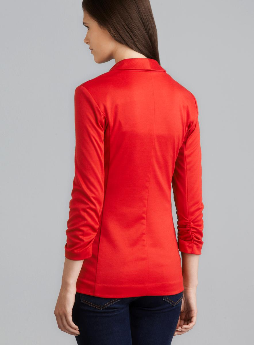 Grace Scarlet Ruched Sleeve Two Pocket Blazer - Thumbnail 1