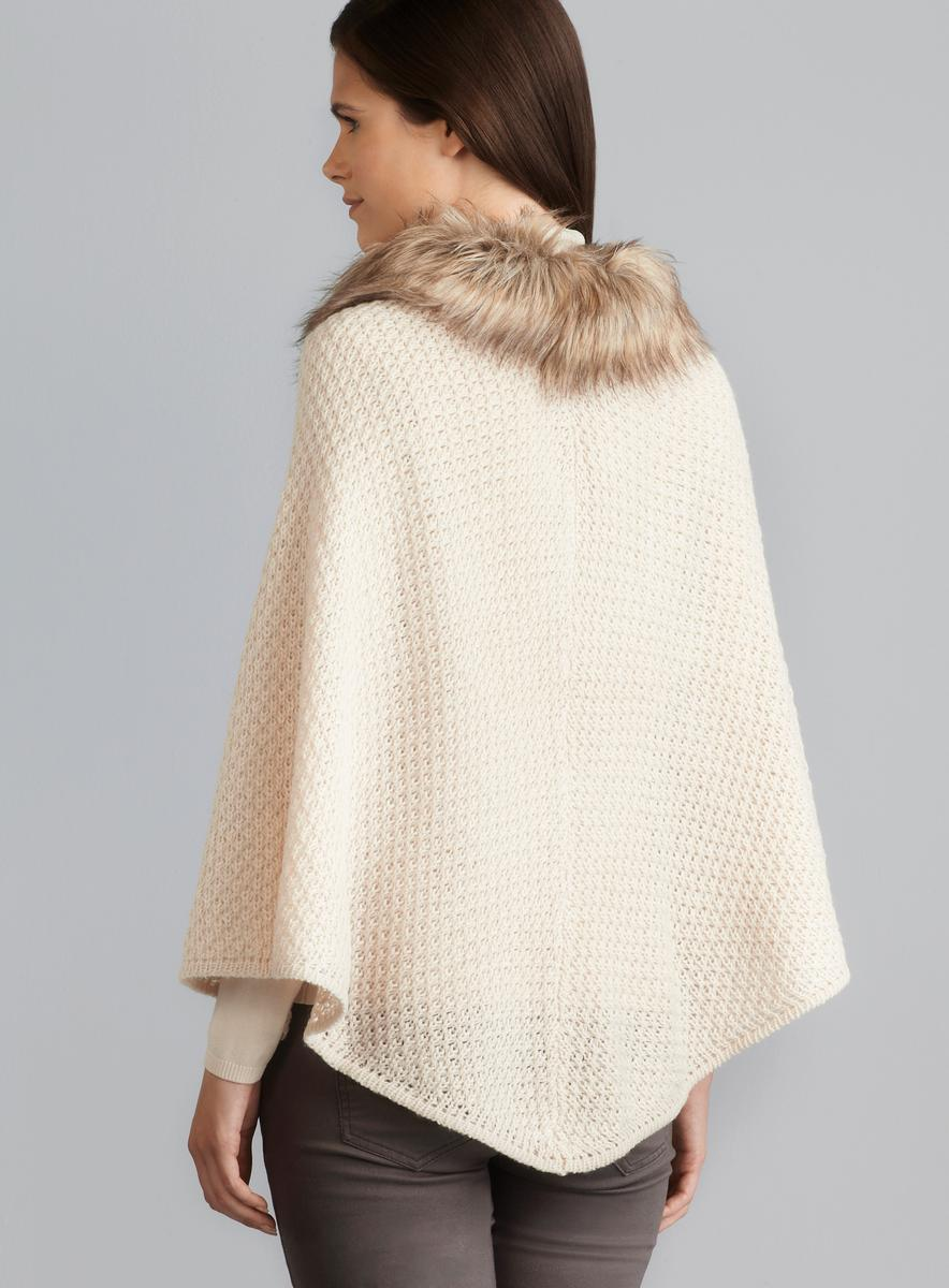 Steve Madden Faux Fur Collar Knit Poncho Free Shipping
