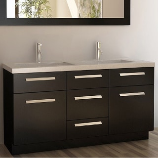 Delightful Design Element Moscony Espresso 60 Inch Double Sink Vanity Set