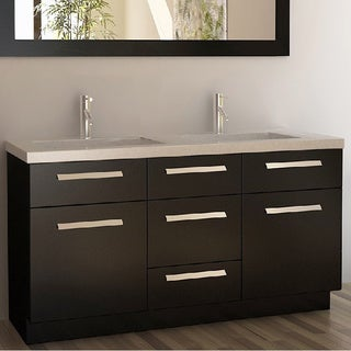 High Quality Design Element Moscony Espresso 60 Inch Double Sink Vanity Set