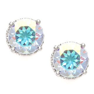 Silvermoon Sterling Silver Opal Topaz Stud Earrings