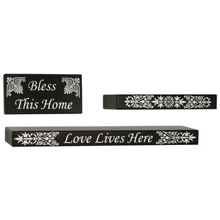 Melannco Home Sentiment Shelf and Plaque 3-piece Set