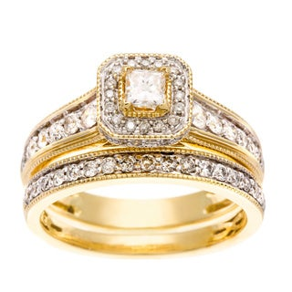 Sofia 14k Yellow Gold 1ct TDW IGL Certified Diamond Bridal Ring Set