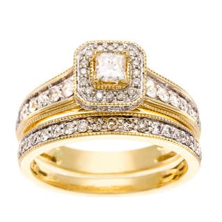 sofia 14k yellow gold 1ct tdw igl certified diamond bridal ring set - Yellow Gold Wedding Ring Sets