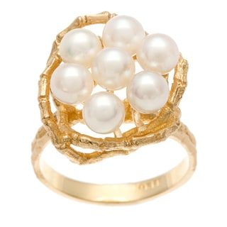 14k Yellow Gold White Freshwater Pearl Cluster Estate Ring (4.5 mm)