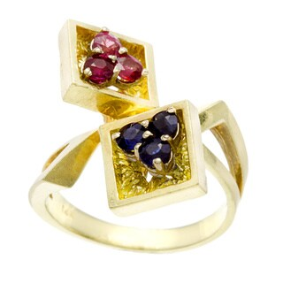 Pre-owned 14k Yellow Gold Sapphire and Ruby 1970's Estate Ring