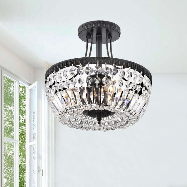 High Quality Crystal Ceiling Fan 8 Home Style Double Lit: Shop Jessica Crystal/Antique Black Basket 3-light Flush