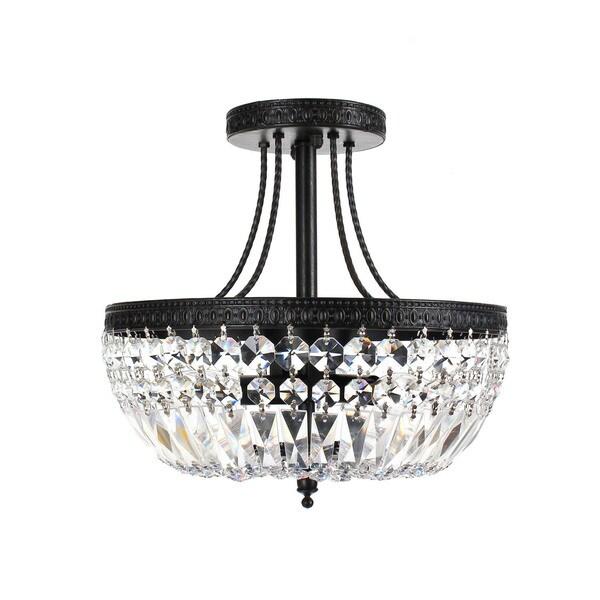 Jessica Crystal/Antique Black Basket 3-light Flush-mount Chandelier