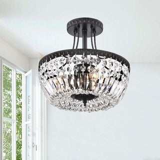 Jessica Crystal Basket 3-light Antique Black Flush Mount Chandelier