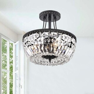 Jessica Crystal/Antique Black Basket 3-light Flush-mount Chandelier