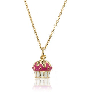 Little Miss Twin Stars 14k Goldplated Children's Crystal Cupcake Necklace