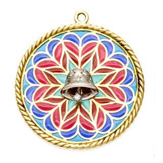 Pre-owned Platinum/ 18k Gold 1/6ct TDW Diamond Bell Estate Pendant (H-I, VS1-VS2)|https://ak1.ostkcdn.com/images/products/8310947/8310947/Platinum-18k-Gold-1-6ct-TDW-Diamond-Bell-Estate-Pendant-H-I-VS1-VS2-P15626547.jpg?impolicy=medium